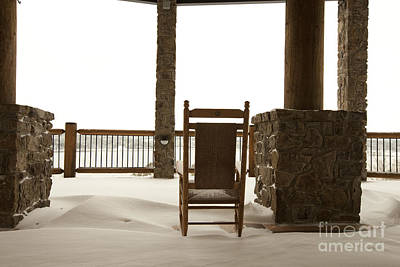 Chair On A Snowy Balcony Poster by Will and Deni McIntyre