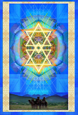 Chalice Synthesis Star Over Three Kings Holiday Card  Vi Lt Poster by Christopher Pringer