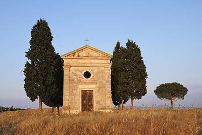 Chapel Of Vitaleta With Cypress Trees Near Sunset Poster by Martin Ruegner