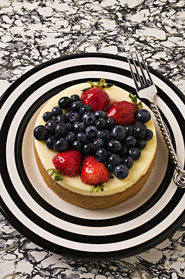 Cheese Cake On Black And White Plate Poster by Garry Gay