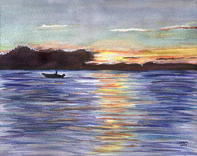 Poster featuring the painting Chesapeake Dusk Boat Ride by Clara Sue Beym