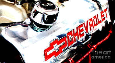 Poster featuring the digital art Chevy Power by Tony Cooper