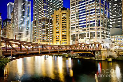 Chicago At Night At Clark Street Bridge Poster by Paul Velgos