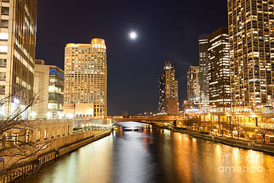 Chicago At Night At Columbus Drive Bridge Poster by Paul Velgos