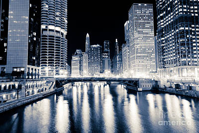 Chicago At Night At Dearborn Street Bridge Poster by Paul Velgos