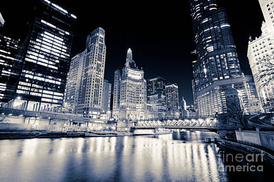 Chicago At Night At Michigan Avenue Bridge Poster by Paul Velgos