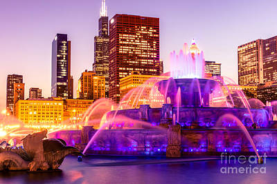 Chicago At Night With Buckingham Fountain Poster by Paul Velgos
