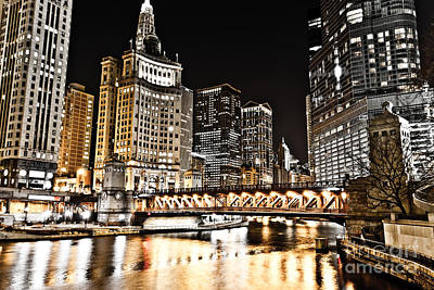 Chicago City At Night Poster by Paul Velgos