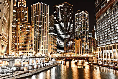 Chicago City Skyline At Night Poster by Paul Velgos