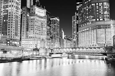 Chicago Cityscape At Night At Dusable Bridge Poster by Paul Velgos
