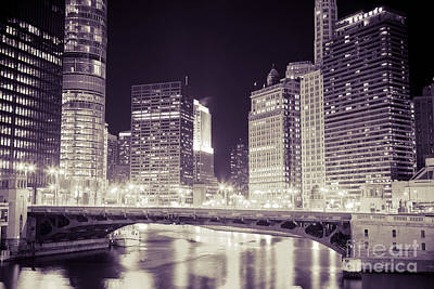 Chicago Cityscape At State Street Bridge Poster by Paul Velgos
