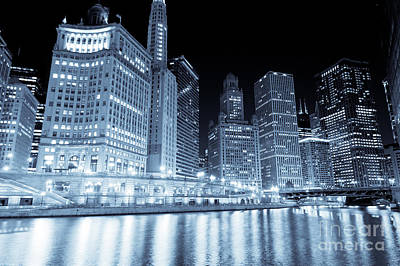 Chicago Downtown Skyline At Night Poster by Paul Velgos