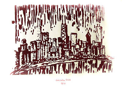 Poster featuring the painting Chicago Great Fire Of 1871 Serigraph Of Skyline Buildings Sears Tower Lake Michigan John Hancock  by M Zimmerman