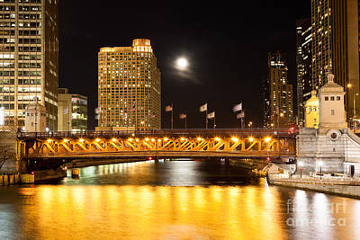 Chicago Michigan Avenue Dusable Bridge At Night Poster by Paul Velgos