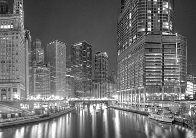 Chicago River At Night In Black And White Poster by Twenty Two North Photography