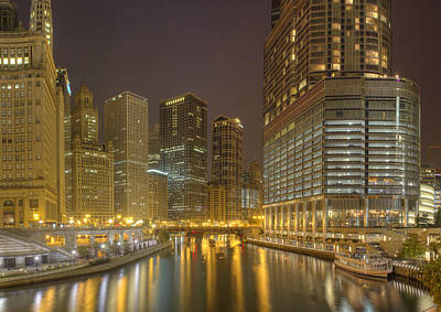 Chicago River At Night Poster by Twenty Two North Photography