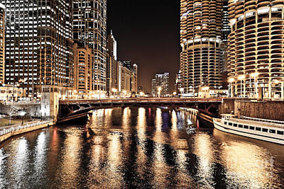 Chicago Skyline At State Street Bridge Poster by Paul Velgos