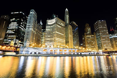 Chicago Wacker Drive Buildings At Night Poster by Paul Velgos