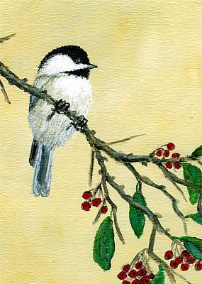 Chickadee Set 4 - Bird 1 - Red Berries Poster
