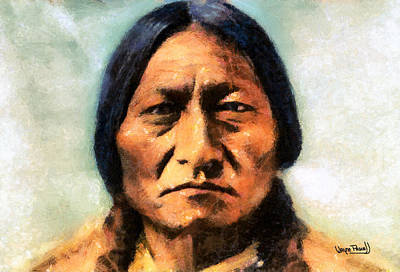 Poster featuring the painting Chief Sitting Bull by Wayne Pascall