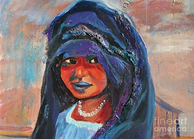 Poster featuring the painting Child Bride Of The Sahara - Close Up by Avonelle Kelsey