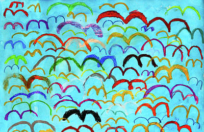 Child Drawing Of Colorful Birds In Blue Sky Poster by Donald Iain Smith