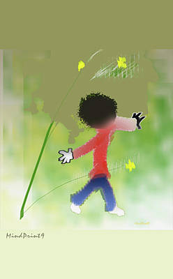 Poster featuring the digital art Child In Nature by Asok Mukhopadhyay