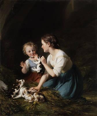Children With Kitten Poster by Fritz Zuber-Buhler