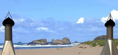 Chimneys Of Cannon Beach Poster