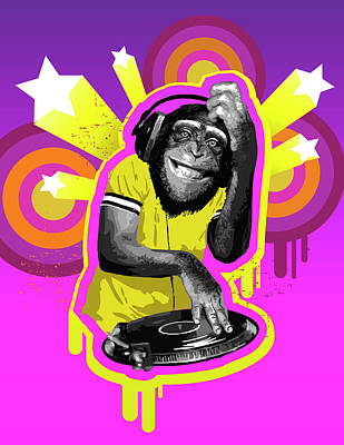 Chimpanzee Dj Poster by New Vision Technologies Inc
