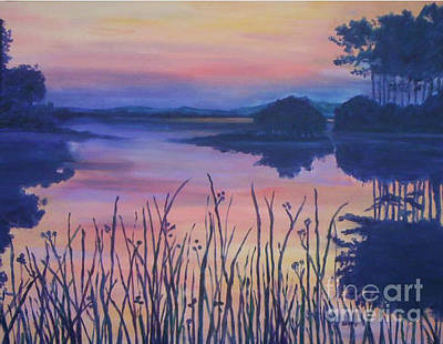 Poster featuring the painting Chincoteaque Island Sunset by Julie Brugh Riffey
