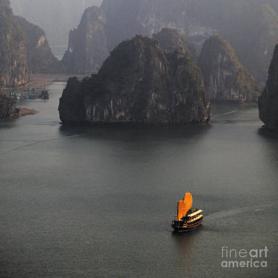 Chinese Boat With Orange Sails Poster by Skip Nall