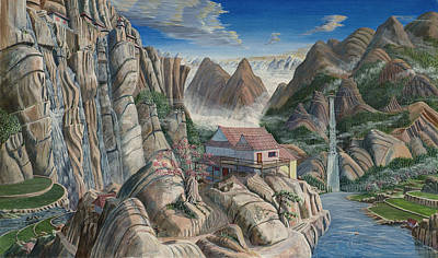 Poster featuring the painting Chinese Dreamscape by Anthony Lyon