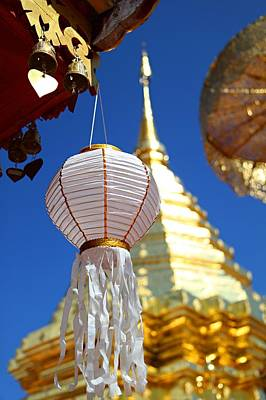 Poster featuring the photograph Chinese Lantern At Wat Phrathat Doi Suthep by Metro DC Photography