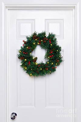 Chrismas Wreath On A White Door Poster by Richard Thomas
