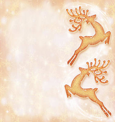 Christmas Holiday Card Festive Background Reindeer Decorative  Poster