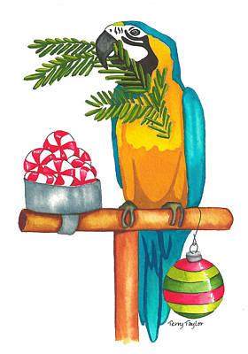 Christmas Macaw Poster