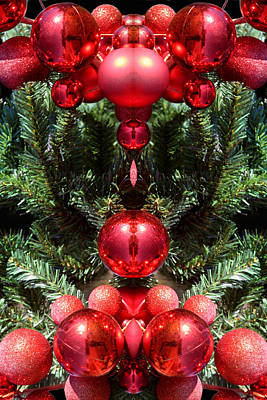 Christmas Red Balls Abstract Poster by Linda Phelps