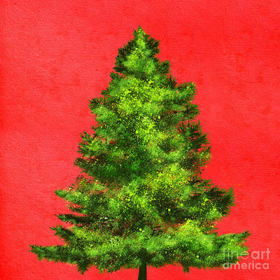 Christmas Tree Painting Poster