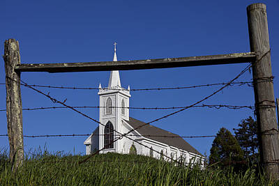 Church And Barbed Wire Poster by Garry Gay