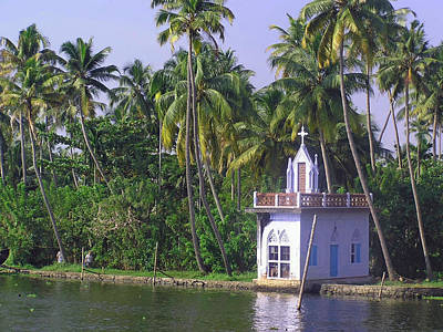 Church Located On A Coastal Lagoon In Kerala In India Poster