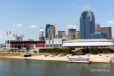 Cincinnati Ohio Skyline And Riverfront Poster by Paul Velgos
