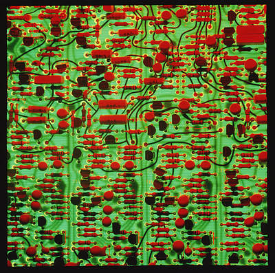 Circuit Board Showing Its Electronic Components Poster by Damien Lovegrove