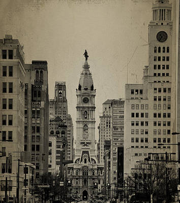 City Hall From North Broad Street Philadelphia Poster by Bill Cannon
