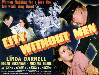 City Without Men, Linda Darnell, 1943 Poster by Everett