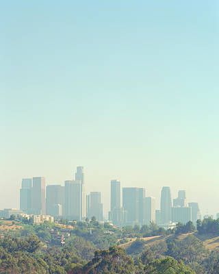 Cityscape Of Los Angeles Skyline From Elysian Park Poster by Edwin Beckenbach