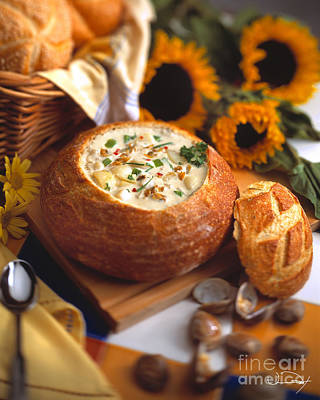 Clam Chowder Bread Bowl Poster by Vance Fox