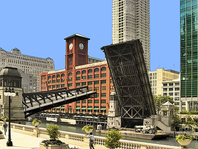 Clark Street Bridge Chicago - A Contrast In Time Poster by Christine Till