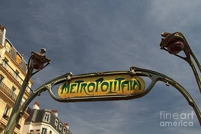 Poster featuring the photograph Classic Paris Metro Sign by Kim Wilson
