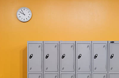 Clock On An Orange Wall Above Lockers Poster by Iain  Sarjeant